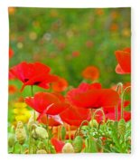 Red Poppy Flowers Meadow Art Prints Fleece Blanket