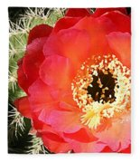 Red Prickly Pear Blossom Fleece Blanket