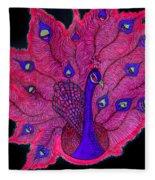 Red - Purple Peacock Fleece Blanket