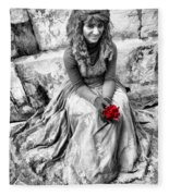 Red Red Rose In Black And White Fleece Blanket