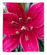 Red Refreshed Lily Fleece Blanket