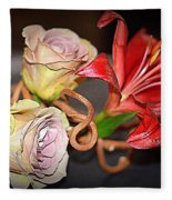 Purple Roses And Red Lily Fleece Blanket