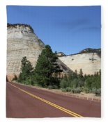 Red Road At Checkerboard Mesa Fleece Blanket