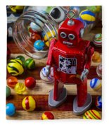 Red Robot And Marbles Fleece Blanket