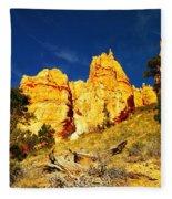 Red Rock Foreground Blue Sky Fleece Blanket