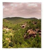 Red Rock Green Forest No2 Fleece Blanket