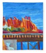 Red Rocks And Railroad Trestle Fleece Blanket