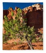 Red Rocks And Tree 1 Fleece Blanket