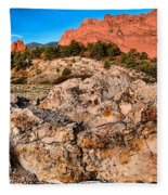 Red Rocks Over White Fleece Blanket