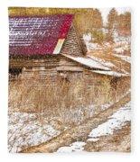 Red Roof In The Snow  Fleece Blanket