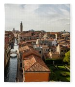 Red Roofs Of Europe - Venetian Canal Palaces Gardens And Courtyards Fleece Blanket