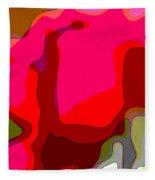 Red Rose Abstract Fleece Blanket