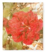 Red Rose At Noon Fleece Blanket