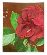 Red Rose Autumn Texture Thank-you  Fleece Blanket