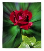 Red Rose Green Background Fleece Blanket