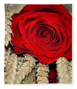 Red Rose On A Bed Of Wheat Fleece Blanket