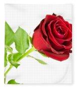 Red Rose On White Fleece Blanket