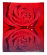 Red Rose Reflects Fleece Blanket