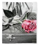 Red Rosebud Fleece Blanket