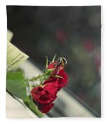 Red Roses And Visitor Fleece Blanket