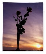 Red Roses At Sunset Fleece Blanket