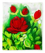 Red Roses From The Garden Impression Fleece Blanket