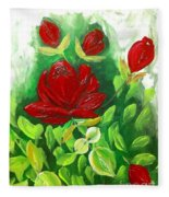 Red Roses From The Garden Fleece Blanket