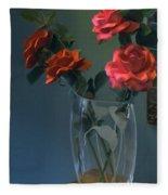 Red Roses In A Vase Fleece Blanket