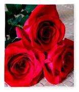 Red Roses On Lauhala Fleece Blanket