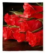 Red Roses On Wood Floor Fleece Blanket
