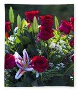 Red Roses Say I Love You Fleece Blanket