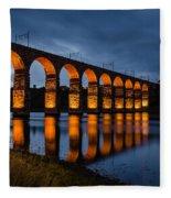 Red Royal Border Bridge Fleece Blanket