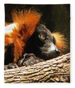 Red Ruffed Lemur Fleece Blanket