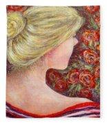 Red Scented Roses Fleece Blanket