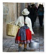 Red Skirted Woman Of Cuenca Fleece Blanket