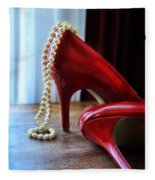 Red Shoes And Pearls Fleece Blanket