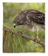 Red Shouldered Hawk Photo Fleece Blanket