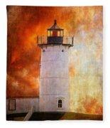 Red Sky At Morning - Nubble Lighthouse Fleece Blanket