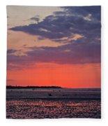 Red Sky At Sword Beach Fleece Blanket