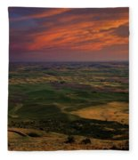 Red Sky Over The Palouse Fleece Blanket