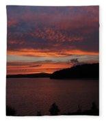 Red Sky Over Wachusett 1 Fleece Blanket