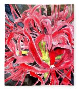 Red Spider Lily Flower Painting Fleece Blanket