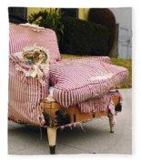 Red Striped Chair Fleece Blanket