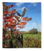 Red Sumac Tree Fleece Blanket