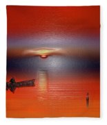 Red Sun Fleece Blanket