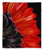 Red Sunflower Vii  Fleece Blanket
