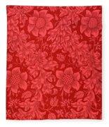 Red Sunflower Wallpaper Design, 1879 Fleece Blanket