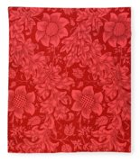 Red Sunflower Wallpaper Design, 1879 Fleece Blanket