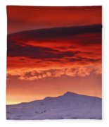 Red Sunrise Over National Park Sierra Nevada Fleece Blanket