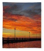 Red Sunset Pier Seaside Nj Fleece Blanket